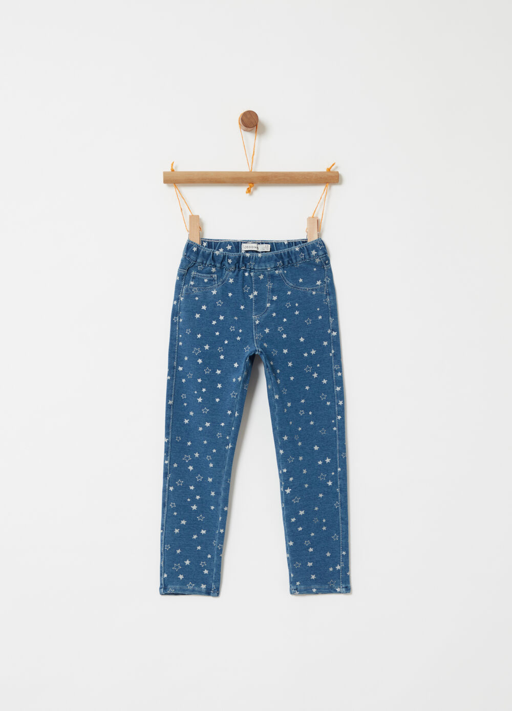 Stretch fleece jeggings with star pattern