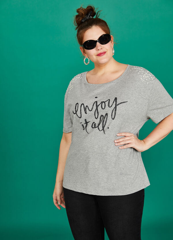 Curvy cotton T-shirt with print and beads