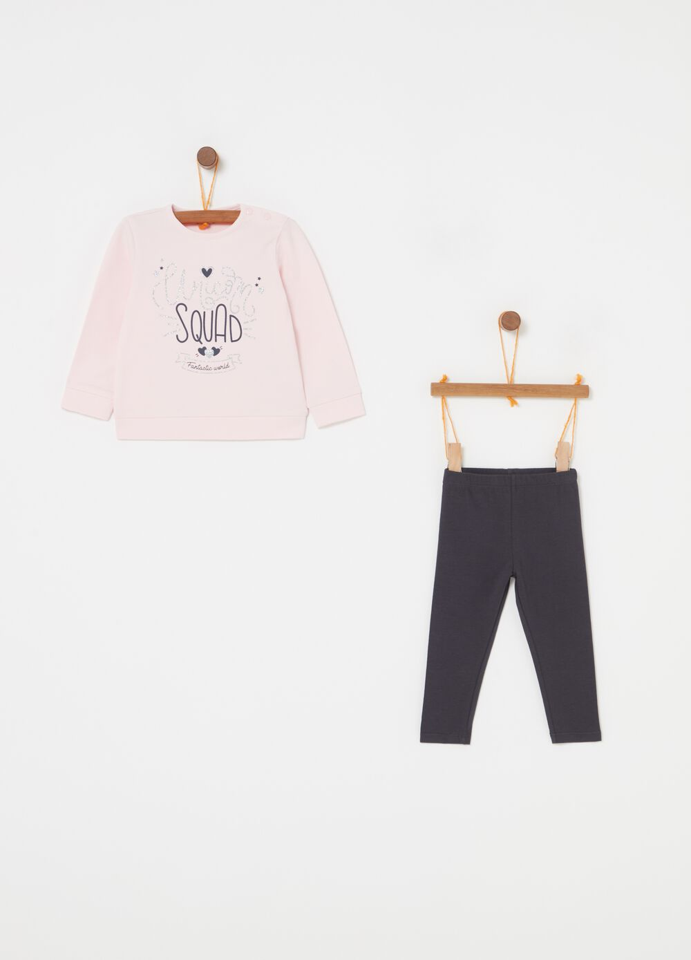 Sweatshirt and leggings jogging set with glitter print