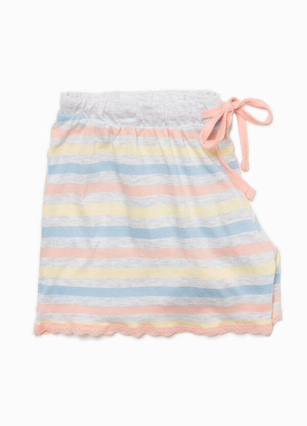 Striped pyjama shorts with lace