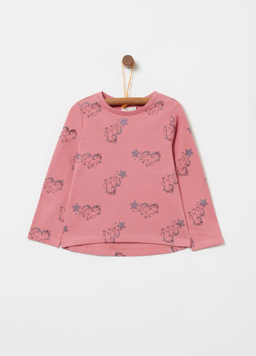 Sweatshirt with glitter unicorn pattern