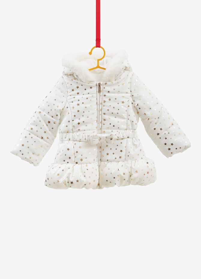 Jacket with glitter stars and belt