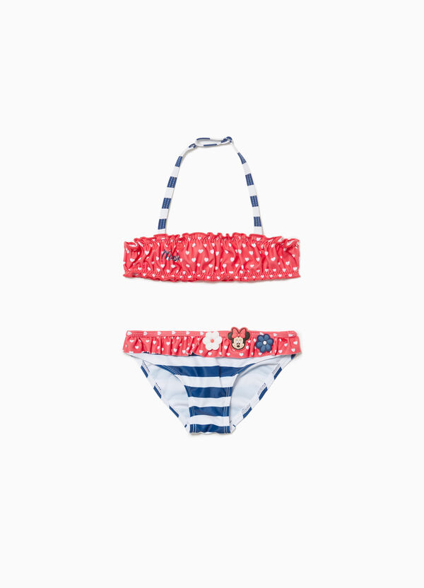 Stretch Minnie Mouse bikini with stripes and hearts patch