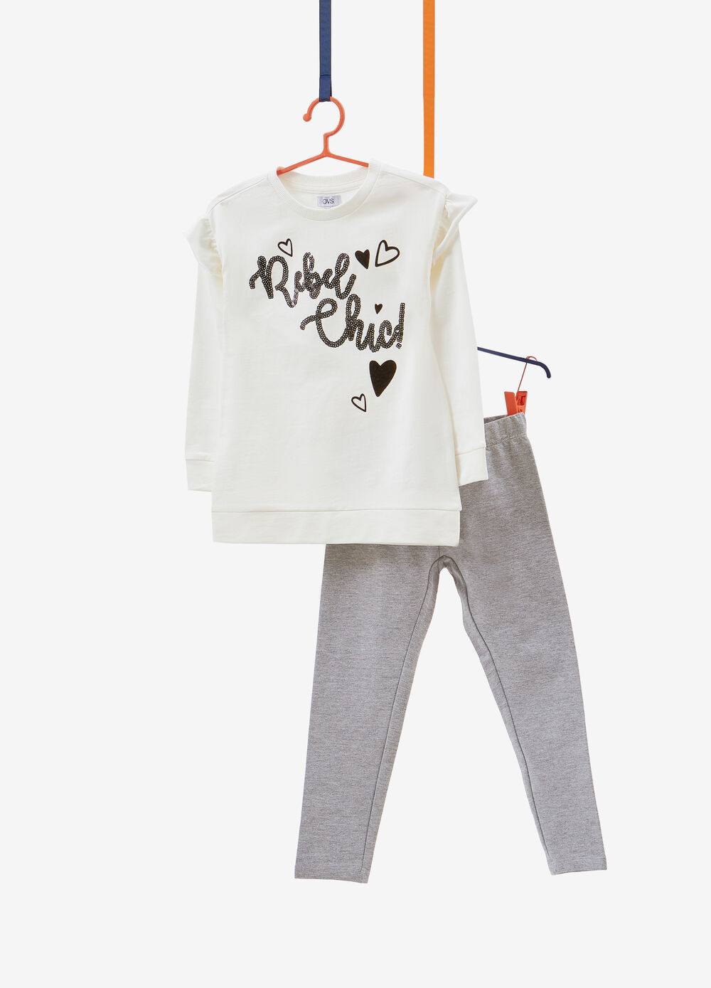 Tracksuit in cotton with lettering sequins and print
