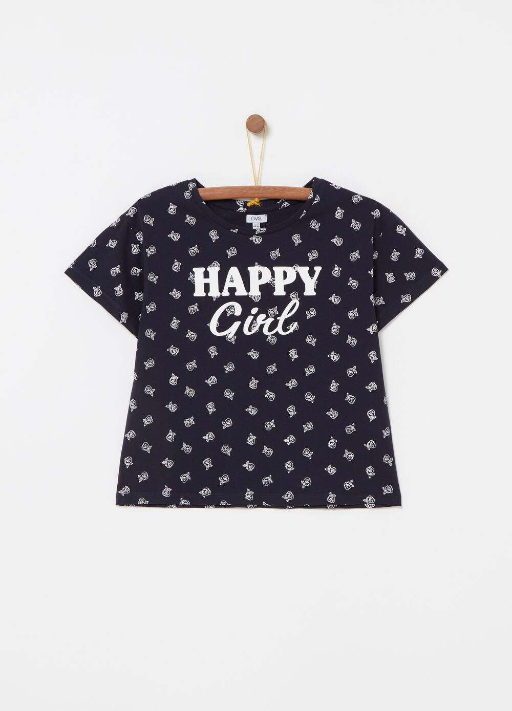 Cropped T-shirt in jersey with all-over print