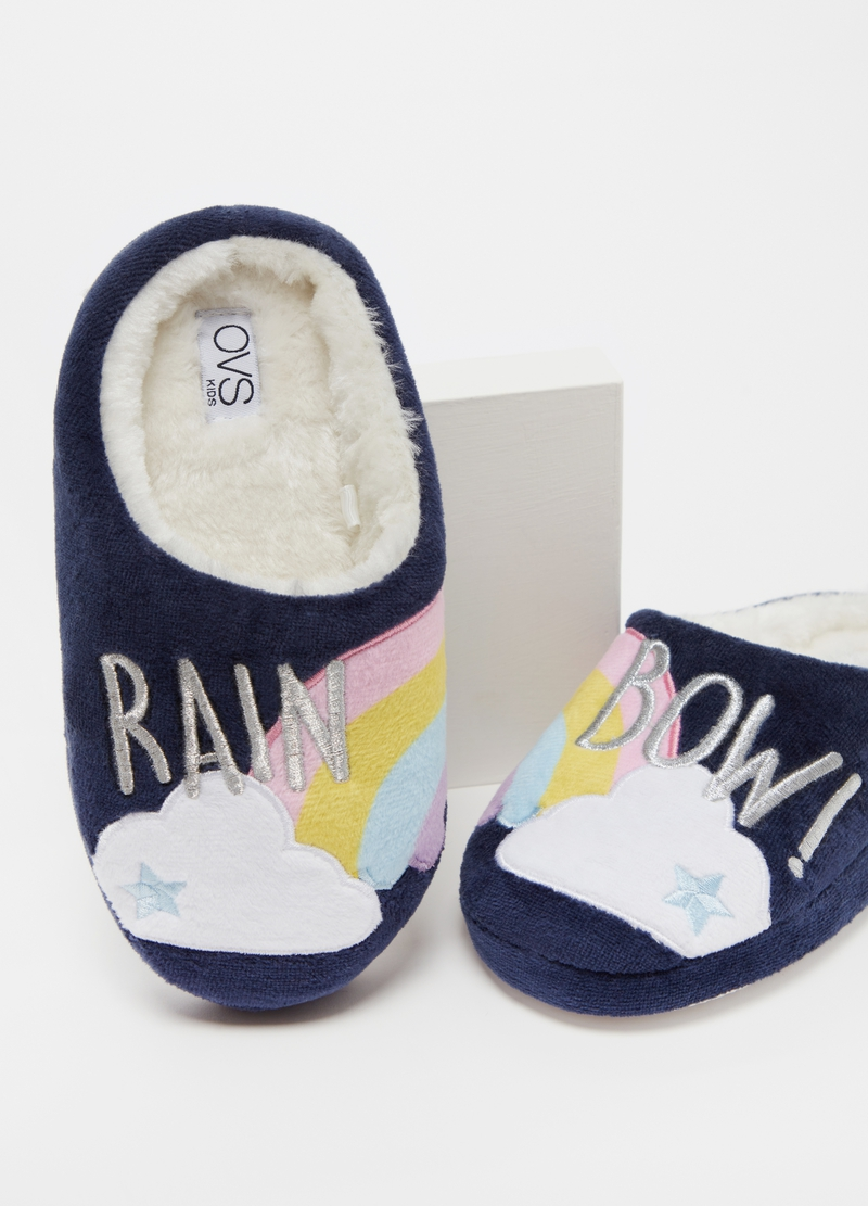 Slippers with rainbow embroidery image number null
