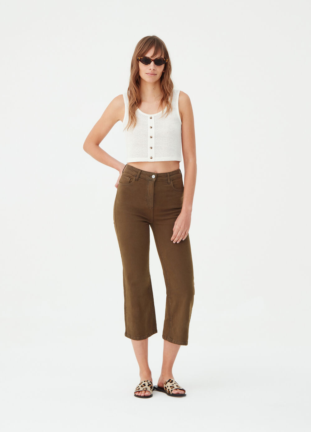 Earth Day crop wide-leg jeans