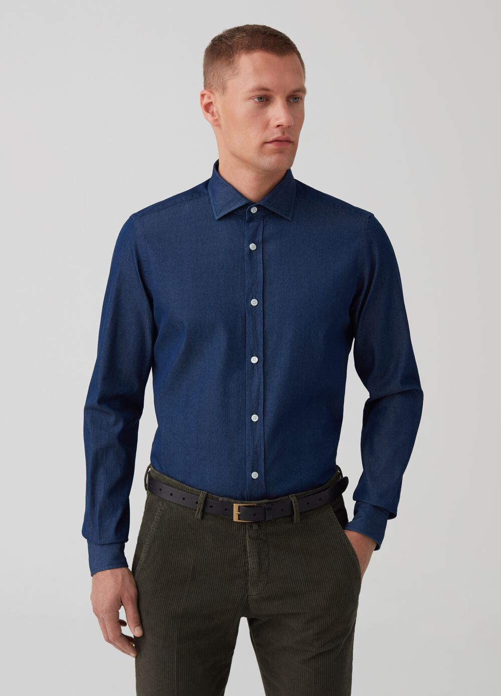 Rumford shirt in denim-effect cotton