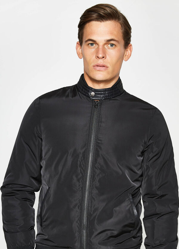Solid colour bomber jacket with high neck