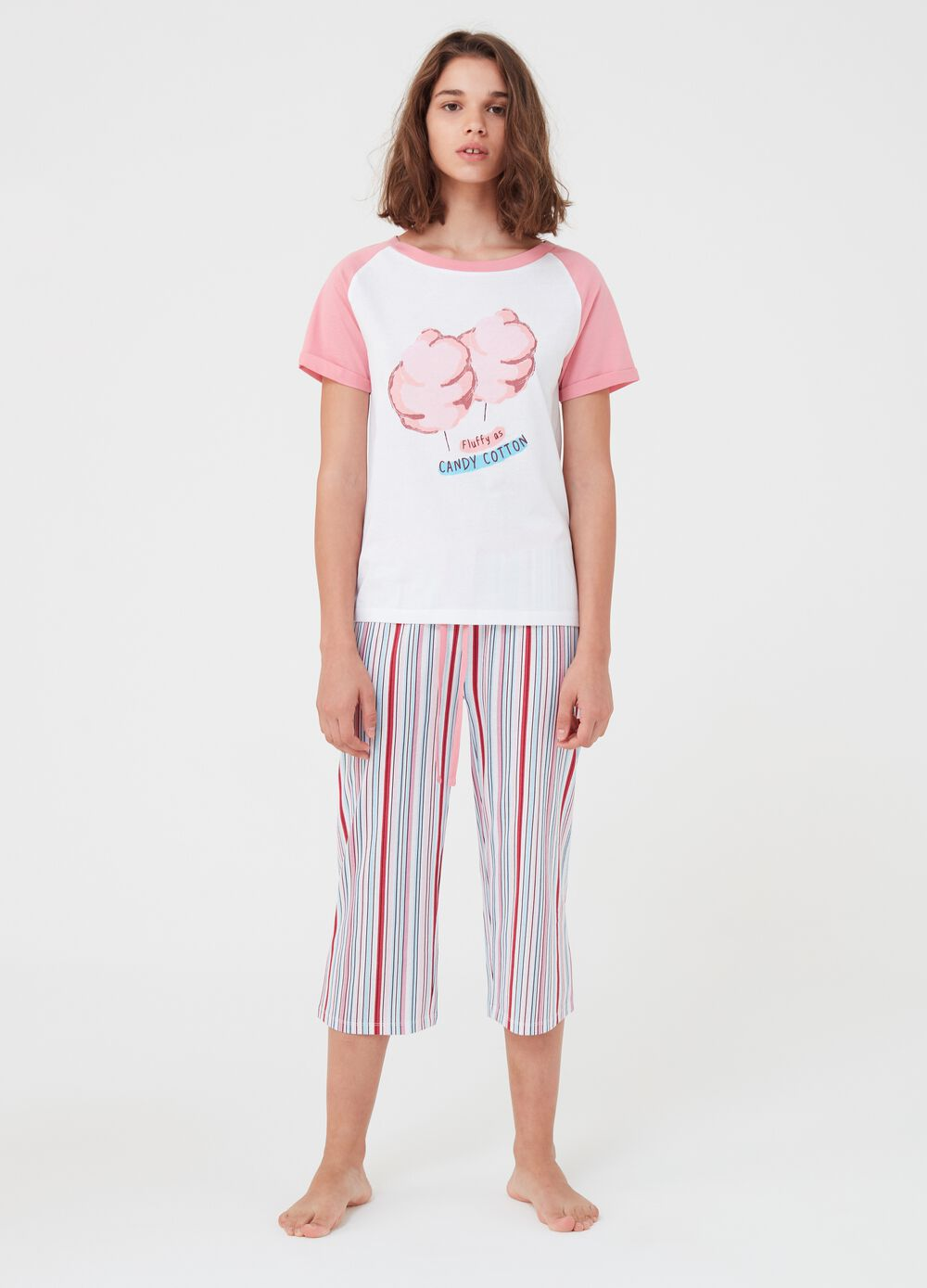 Multi-striped pyjamas with T-shirt and trousers