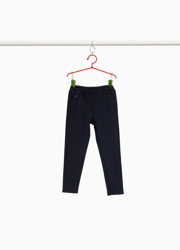 Stretch piquet trousers with buttons
