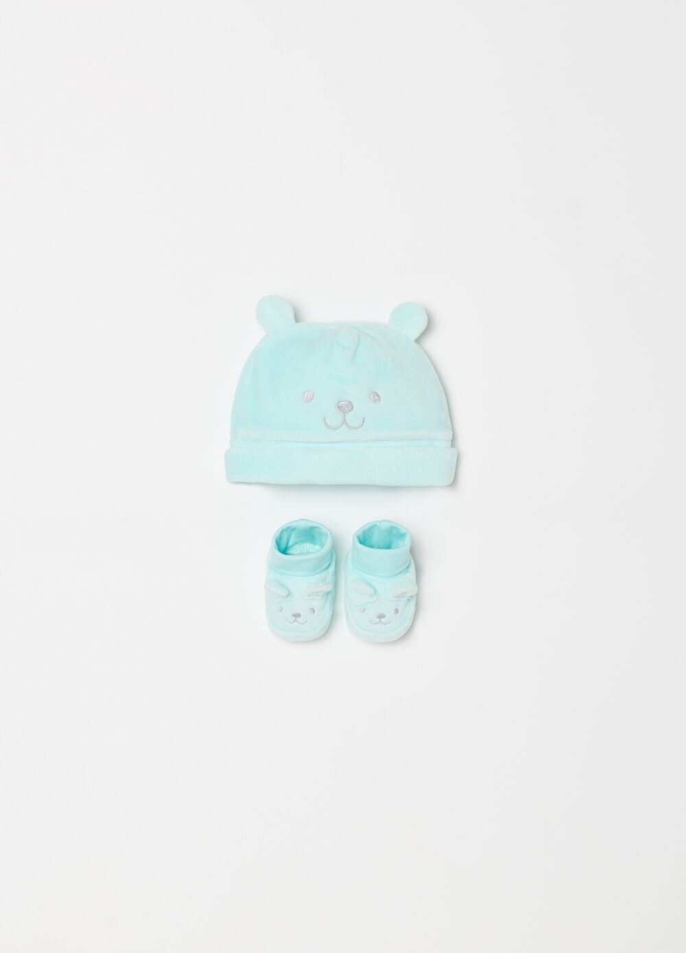 Hat and shoes set in cotton with embroidery