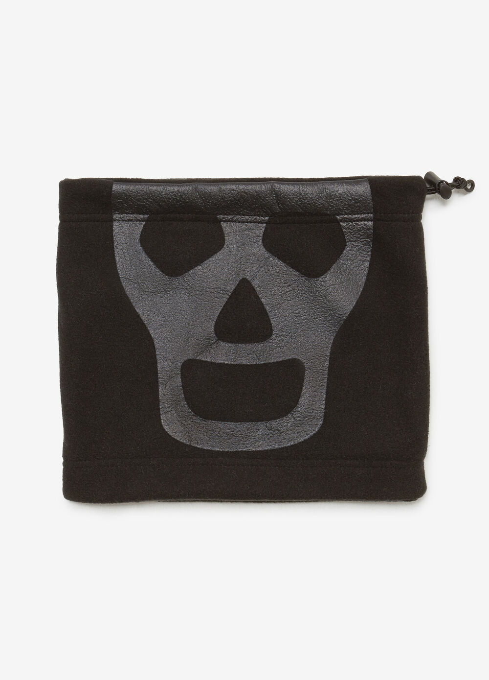 Neck warmer with drawstring and skull print