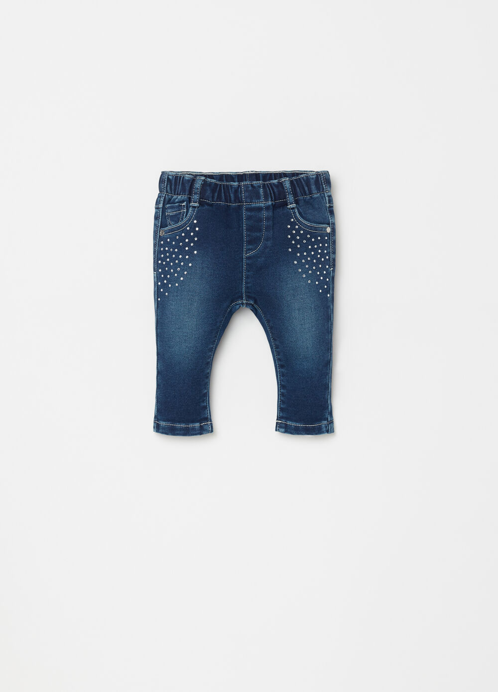 Stretch denim trousers with diamantés