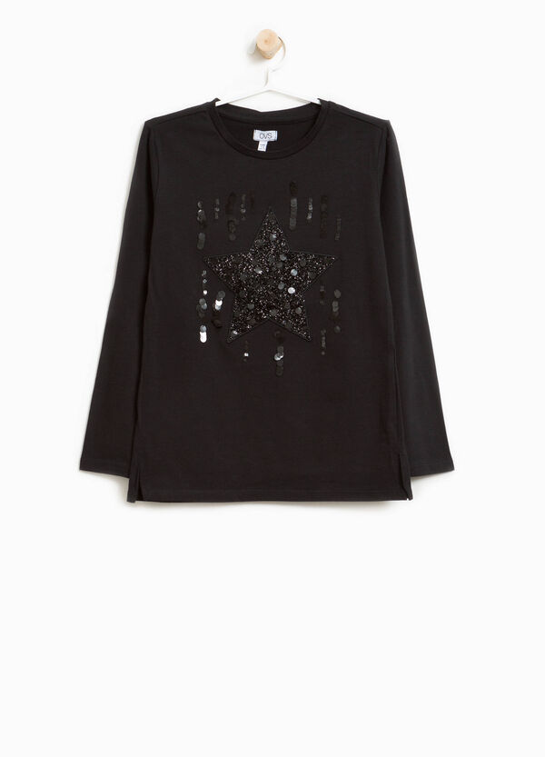 Stretch cotton T-shirt with glitter and sequins