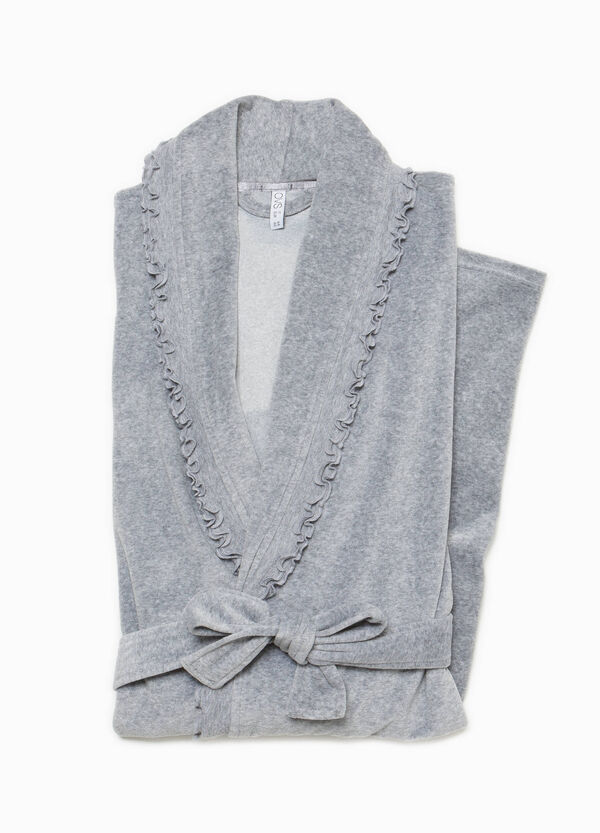 Cotton dressing gown with flounce