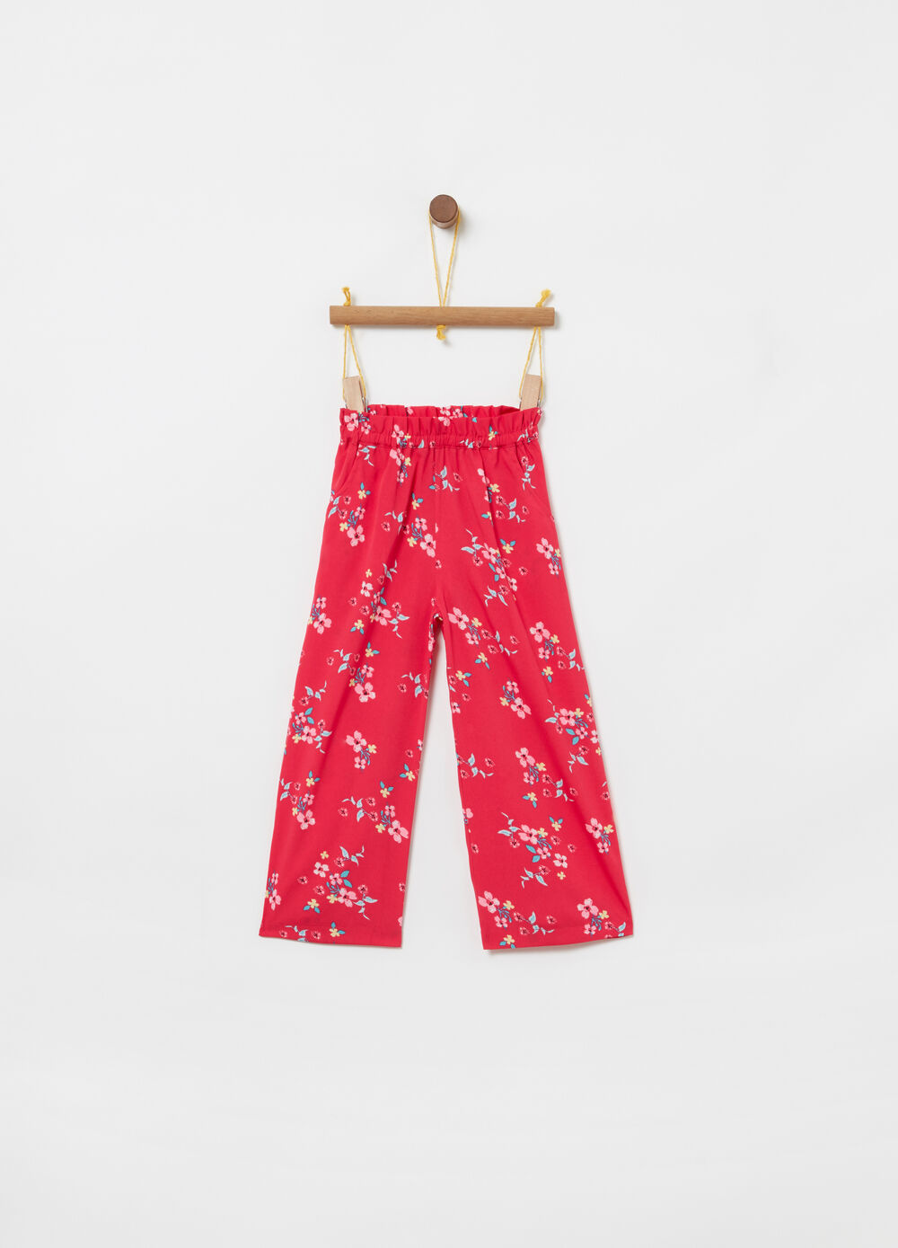 Cropped trousers in floral crêpe
