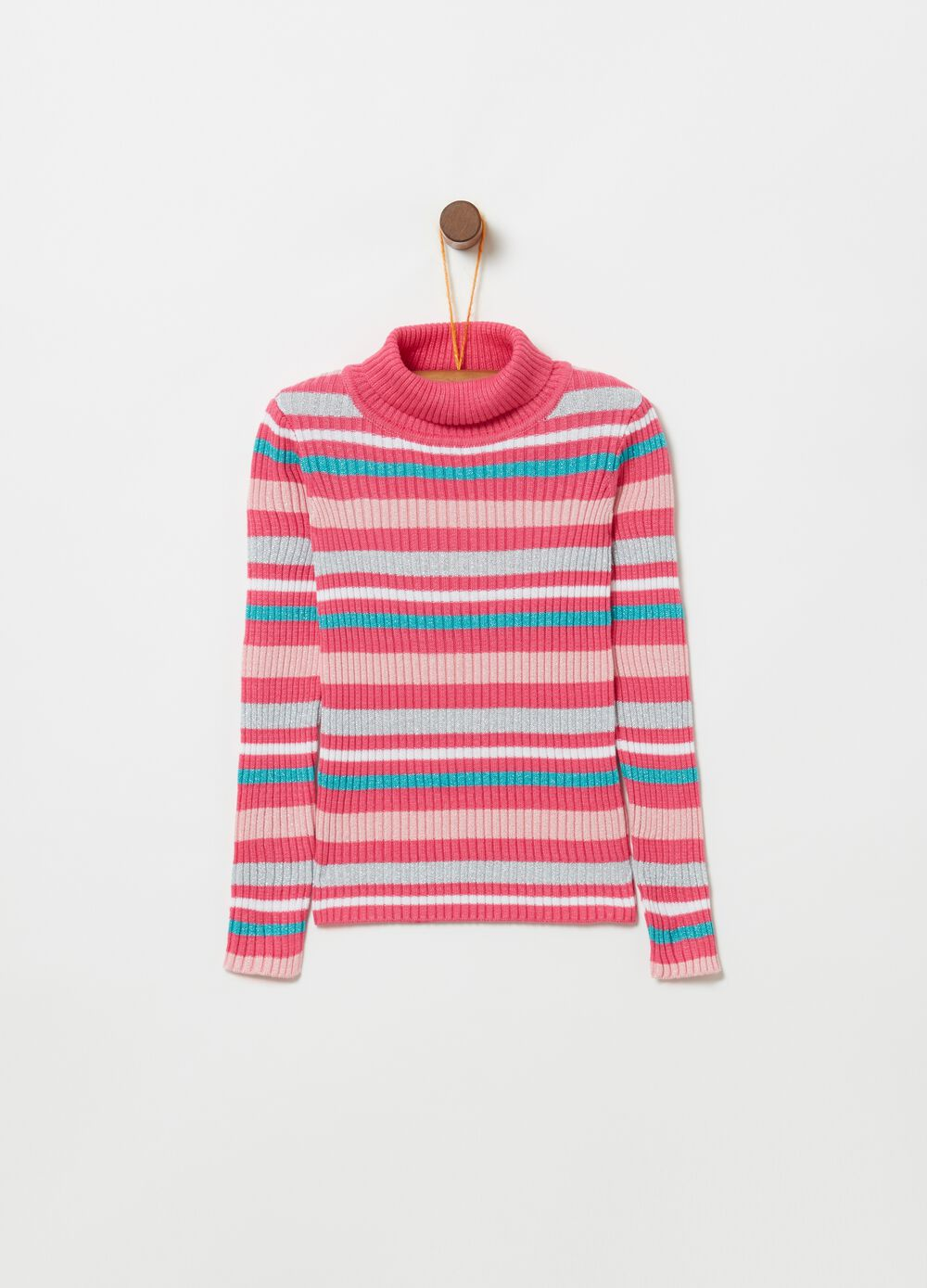 Top with striped high neck and lurex