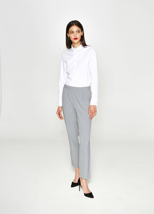 Stretch trousers with pleats | OVS