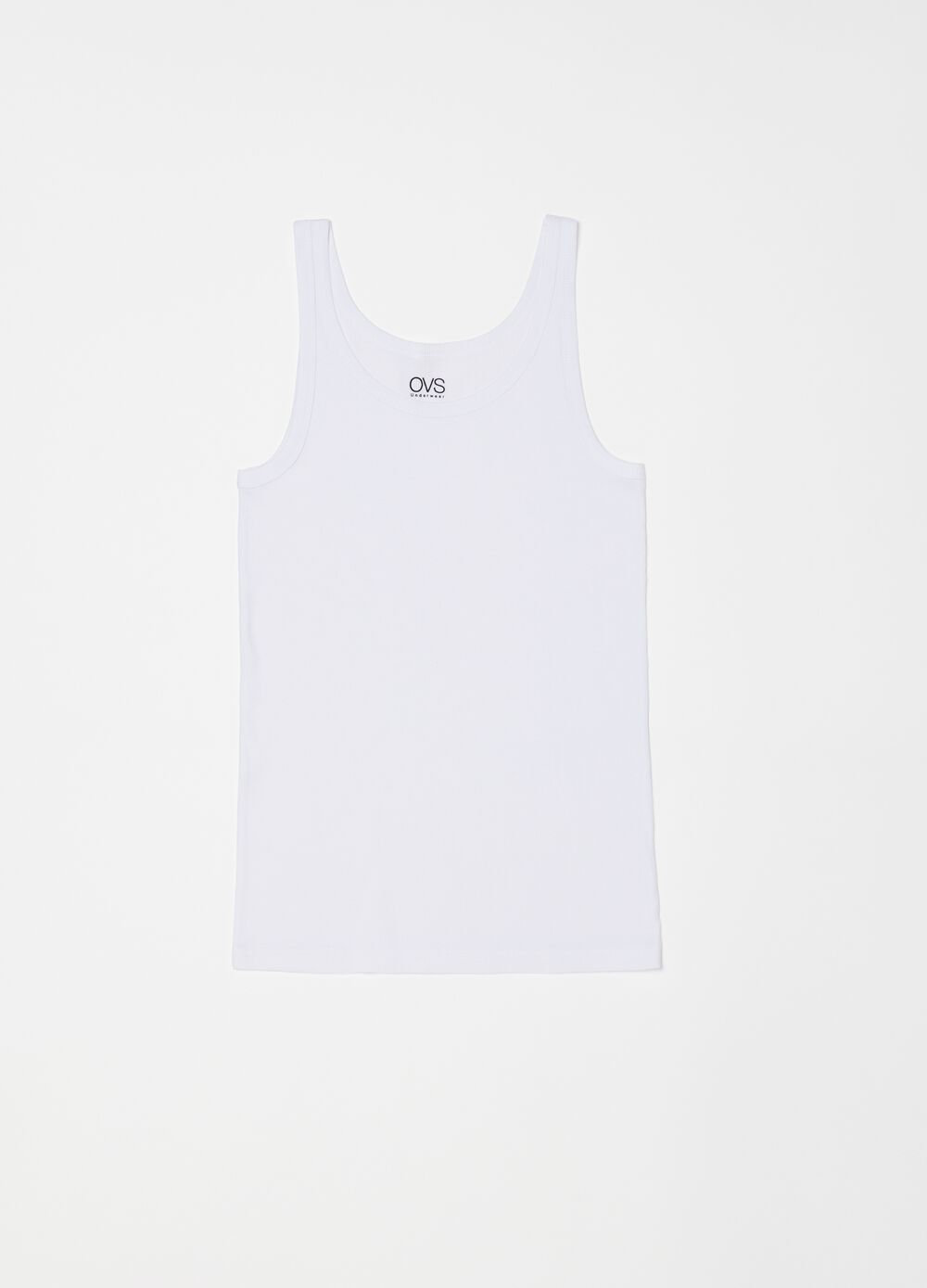Wide-rib racerback top with narrow shoulder straps