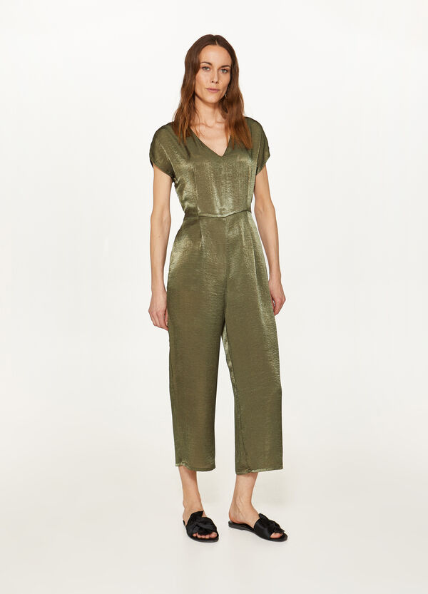 Satin effect short-sleeved tracksuit
