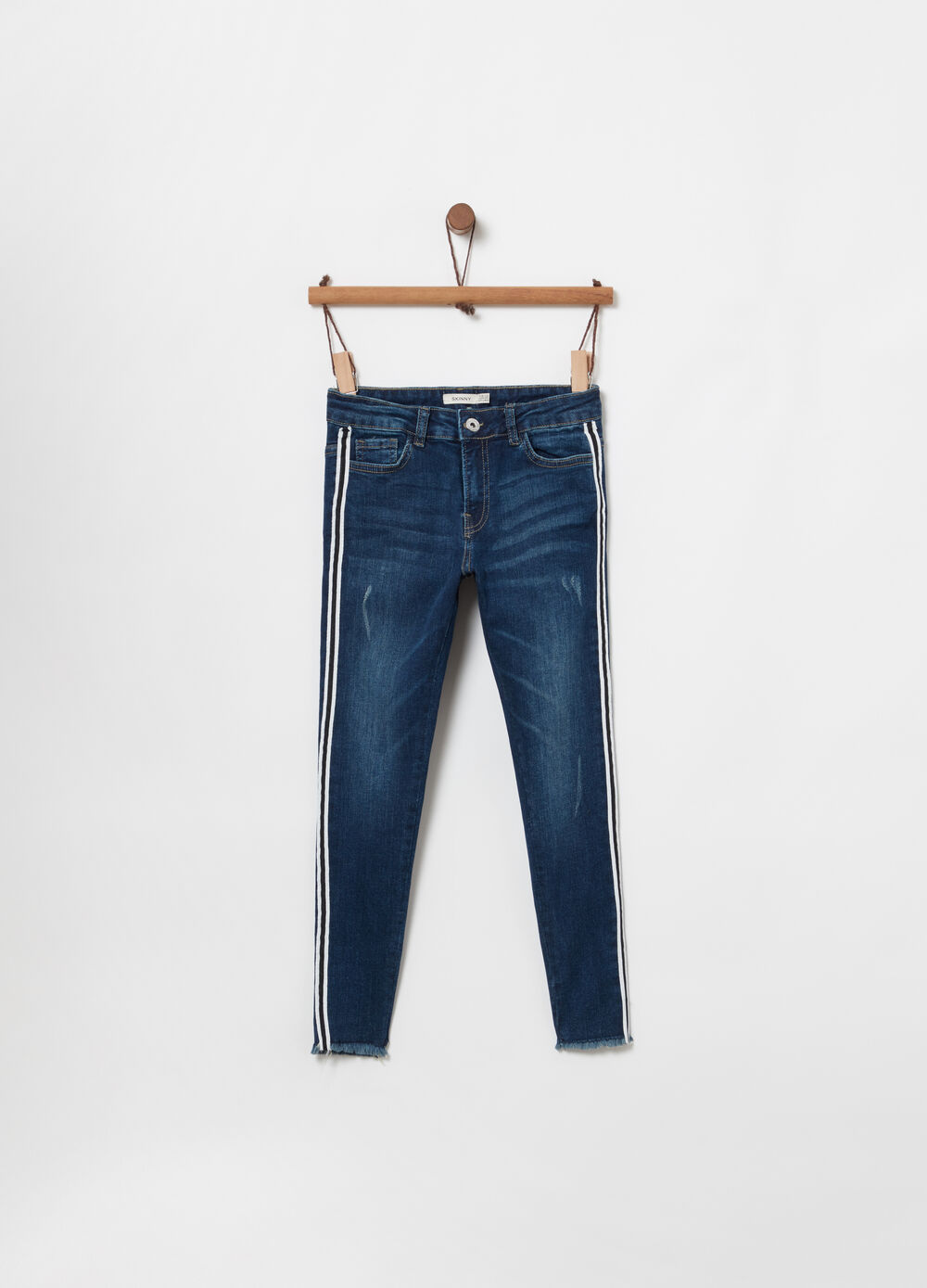 Skinny-fit stretch jeans with striped binding