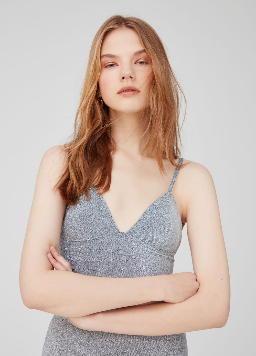 Cropped tank top with lurex and V neck