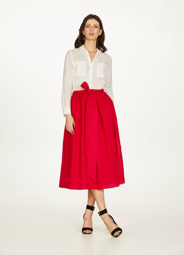 Pleated cotton skirt with belt