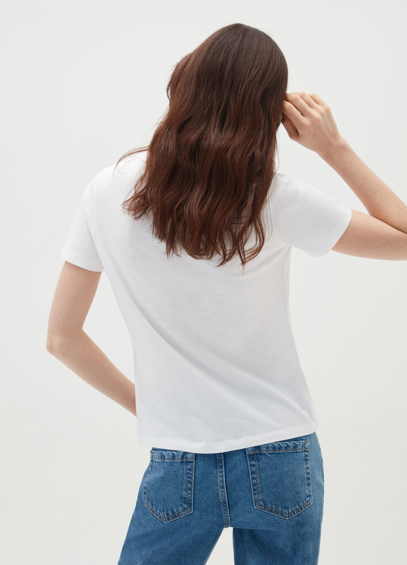 Cotton T-shirt with glitter lettering and heart image number null
