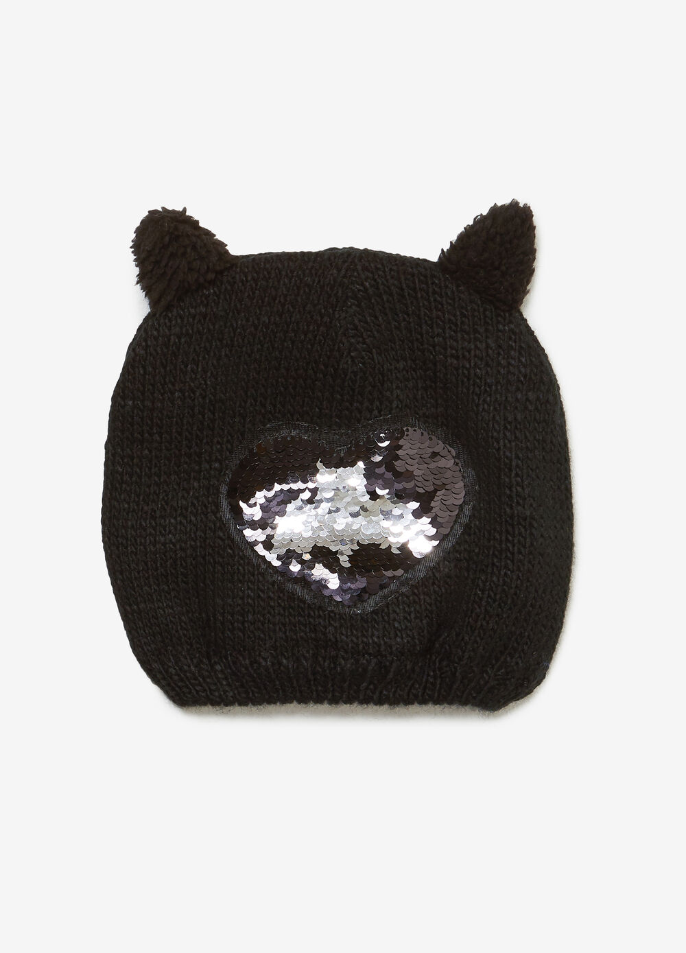 Beanie cap with sequins and ears