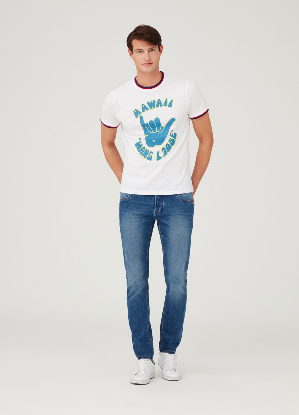 Cotton jersey T-shirt with shiny print