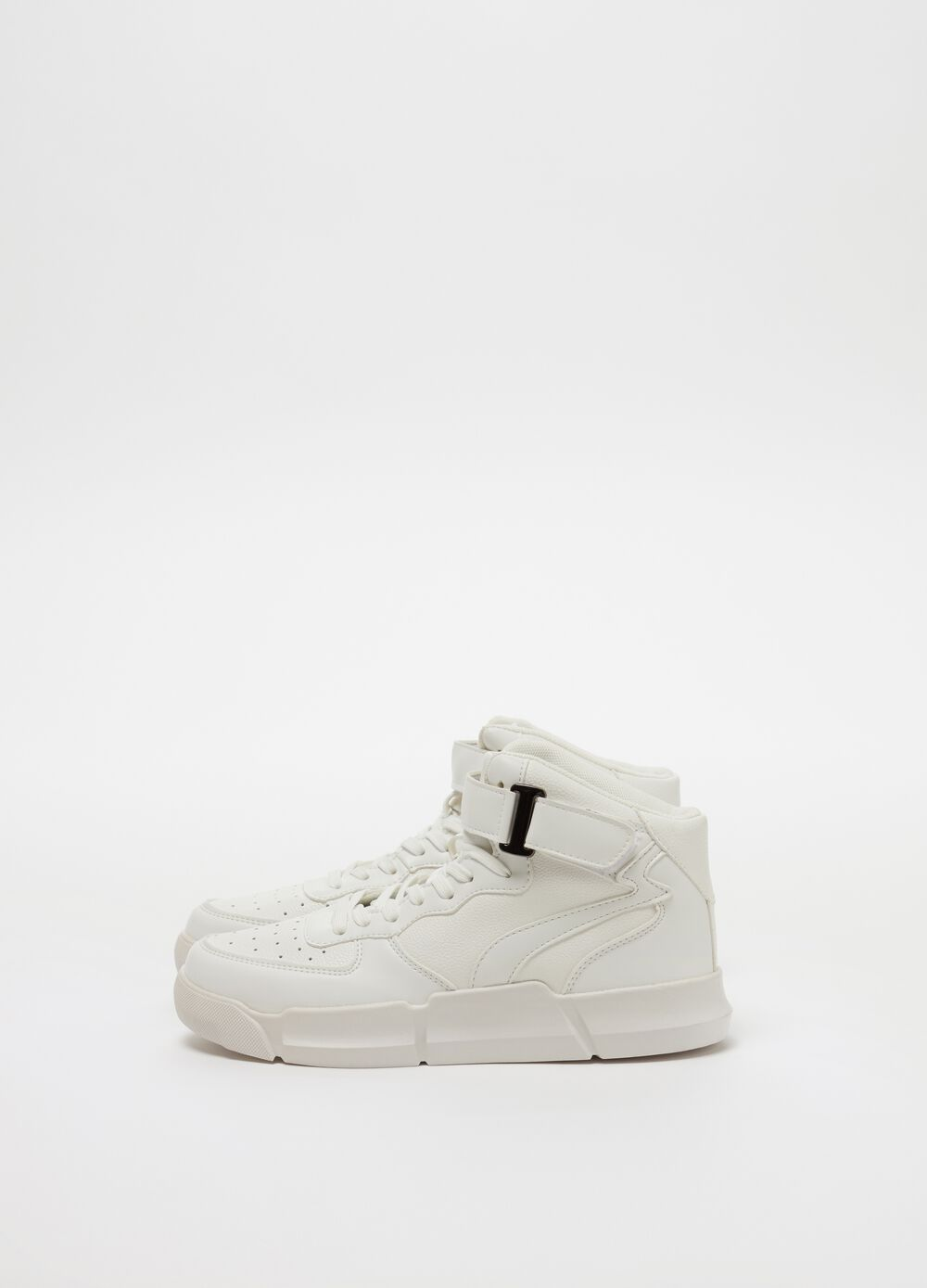 High-top sneakers with low sole and Velcro fastening