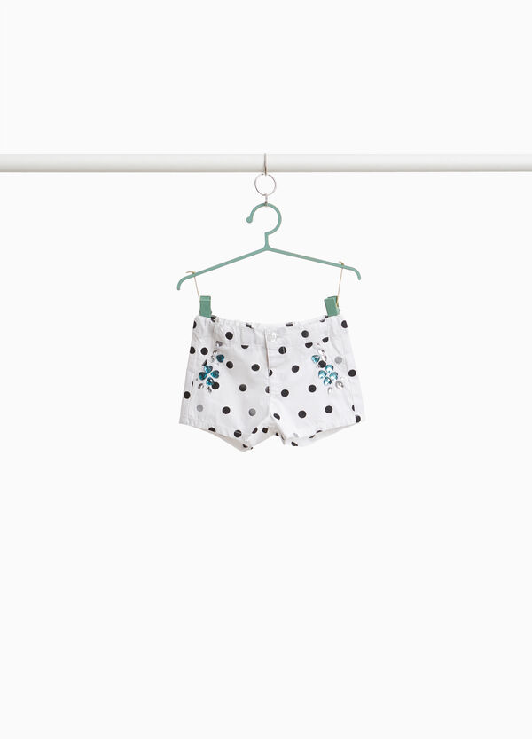 Polka dot shorts in 100% cotton with rhinestone