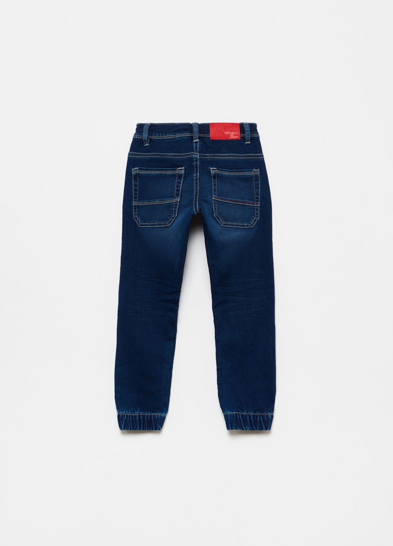 Stretch denim joggers with drawstring image number null