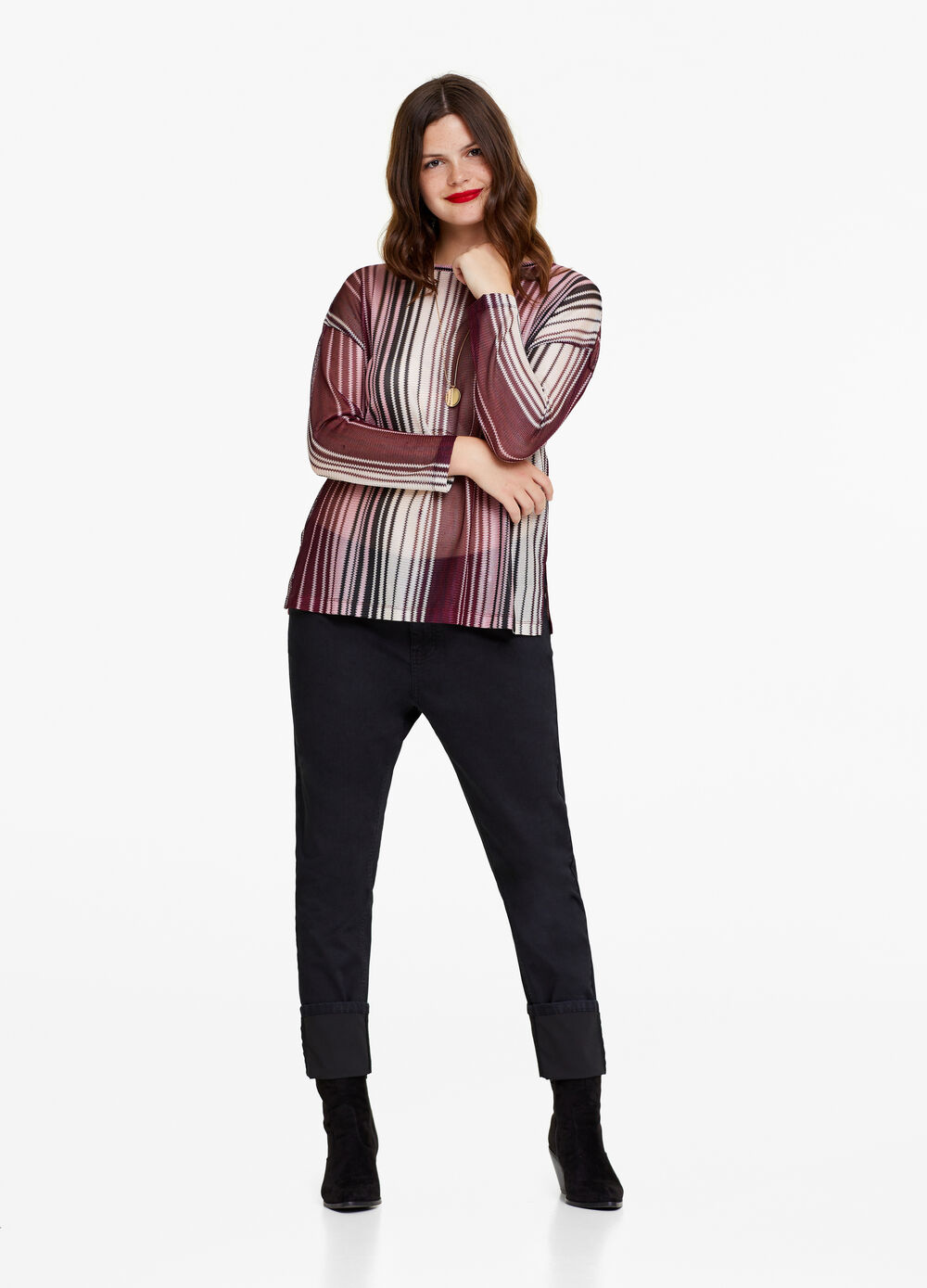 Curvy mesh-effect T-shirt with stripes