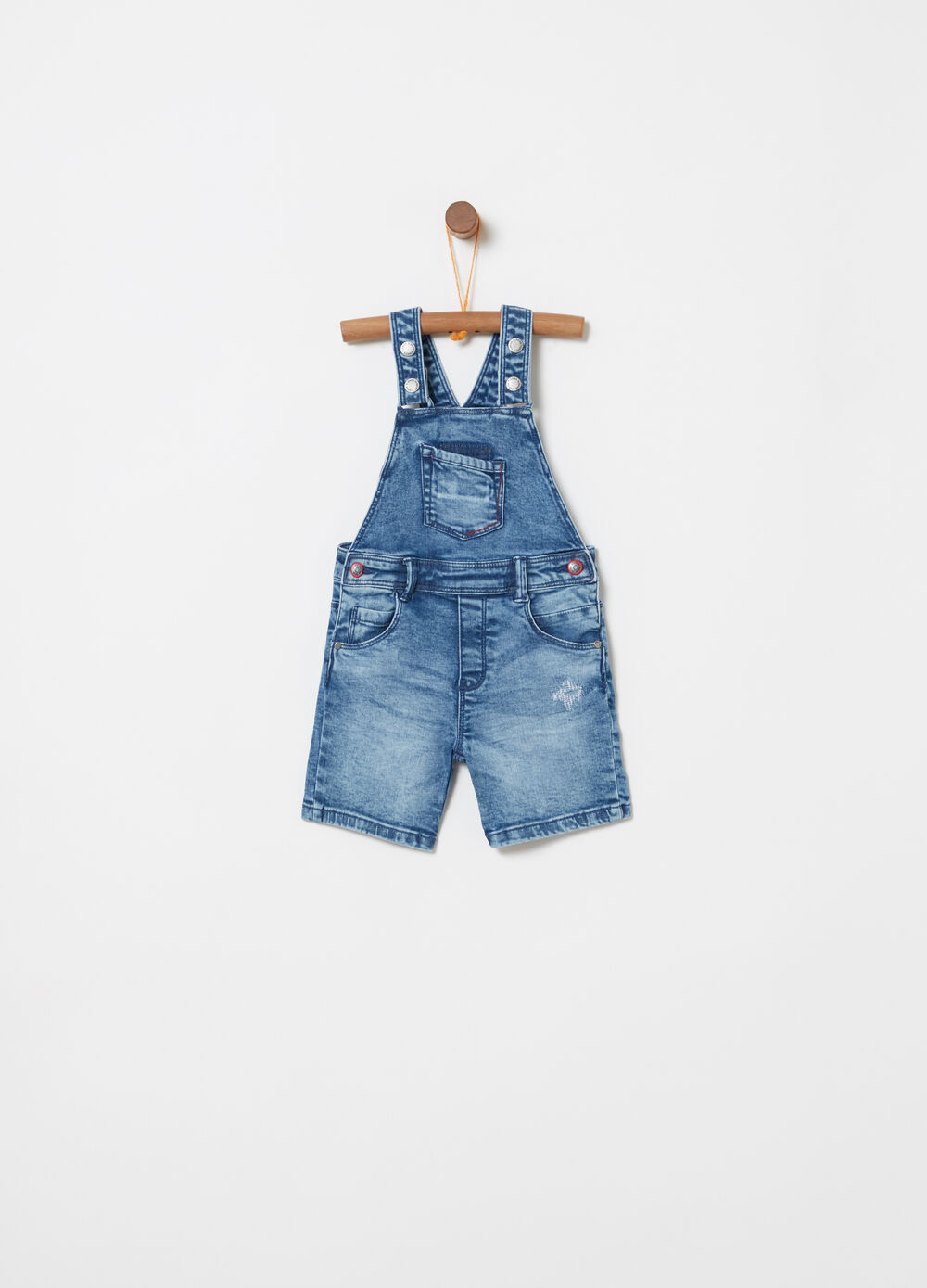 Washed-effect stretch denim dungarees