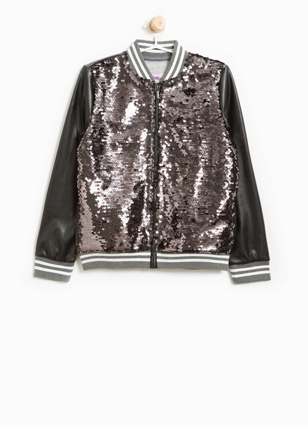 Cotton bomber jacket with sequins
