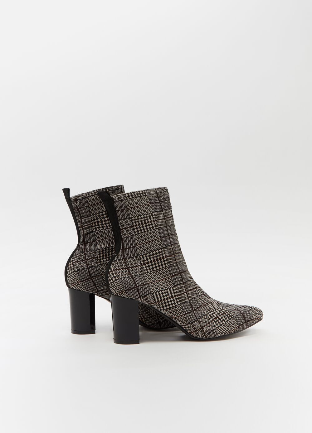Check ankle boots with chunky heel