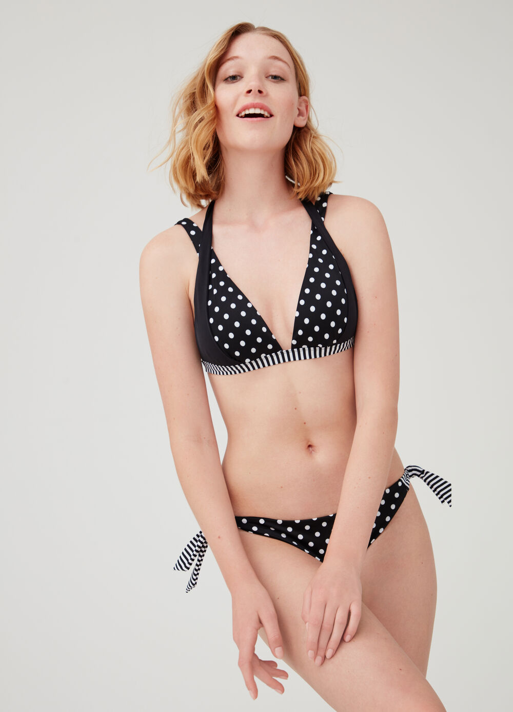 Bikini bottoms with laces, polka dots and stripes