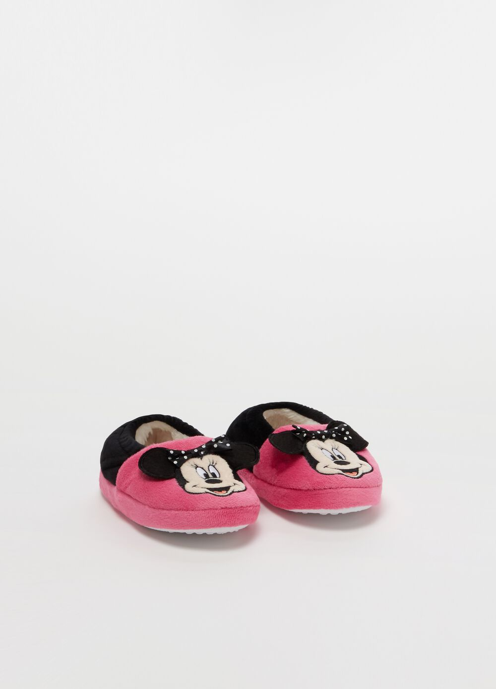 Two-tone slippers with Disney Minnie Mouse embroidery