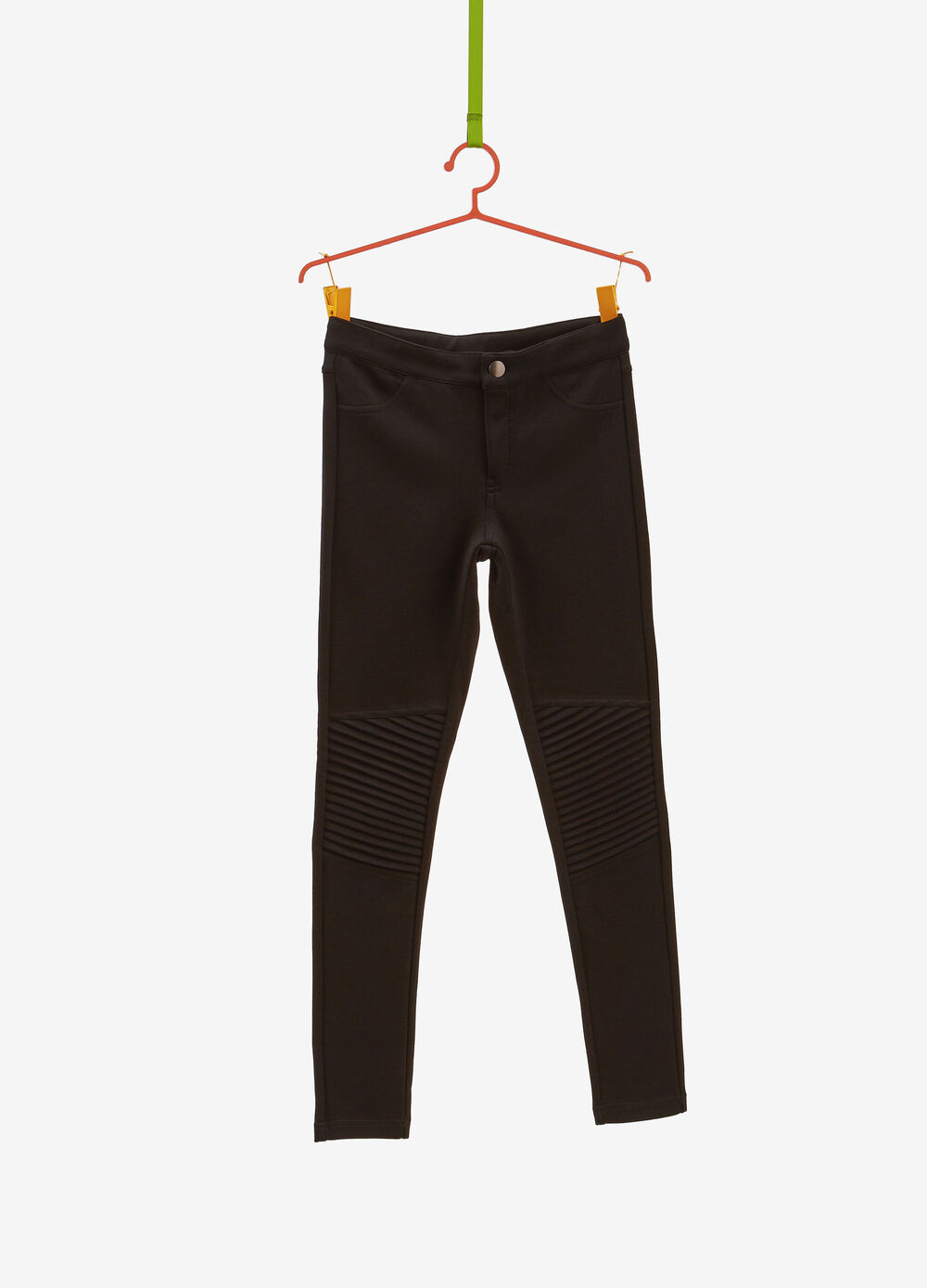 Stretch jeggings with pleated insert
