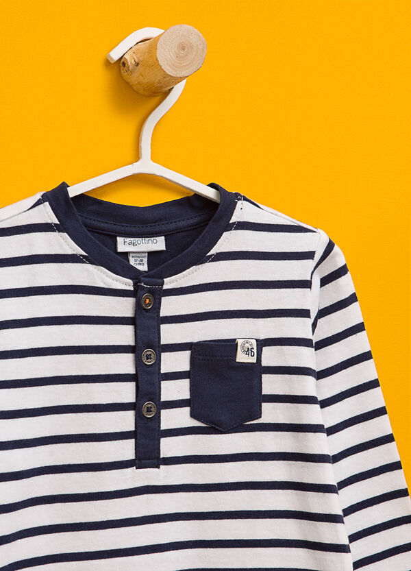 Striped cotton T-shirt with pocket | OVS