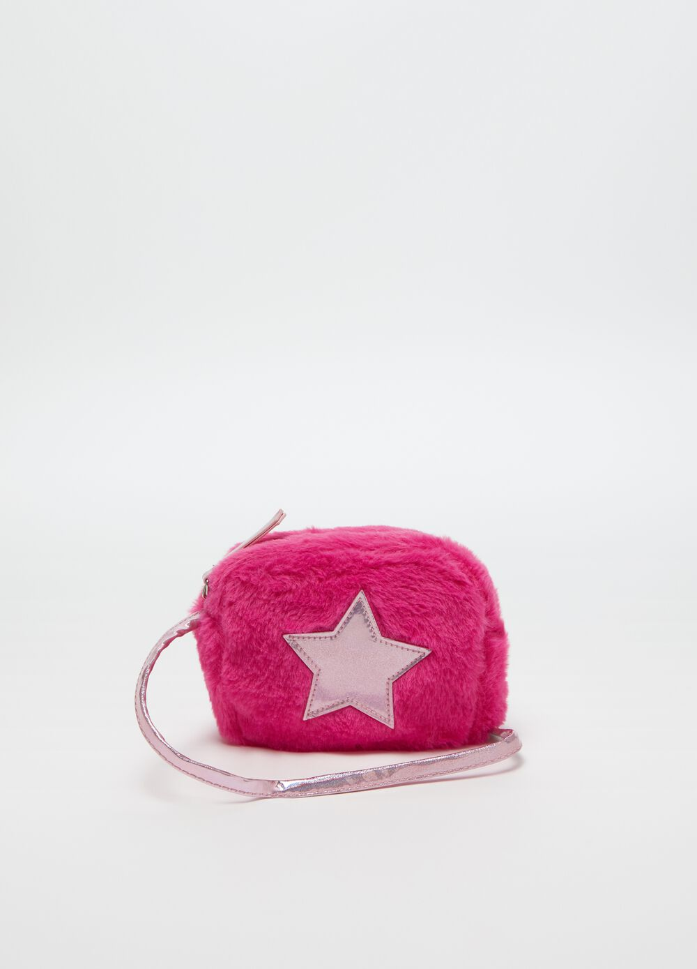 Faux fur shoulder bag with star