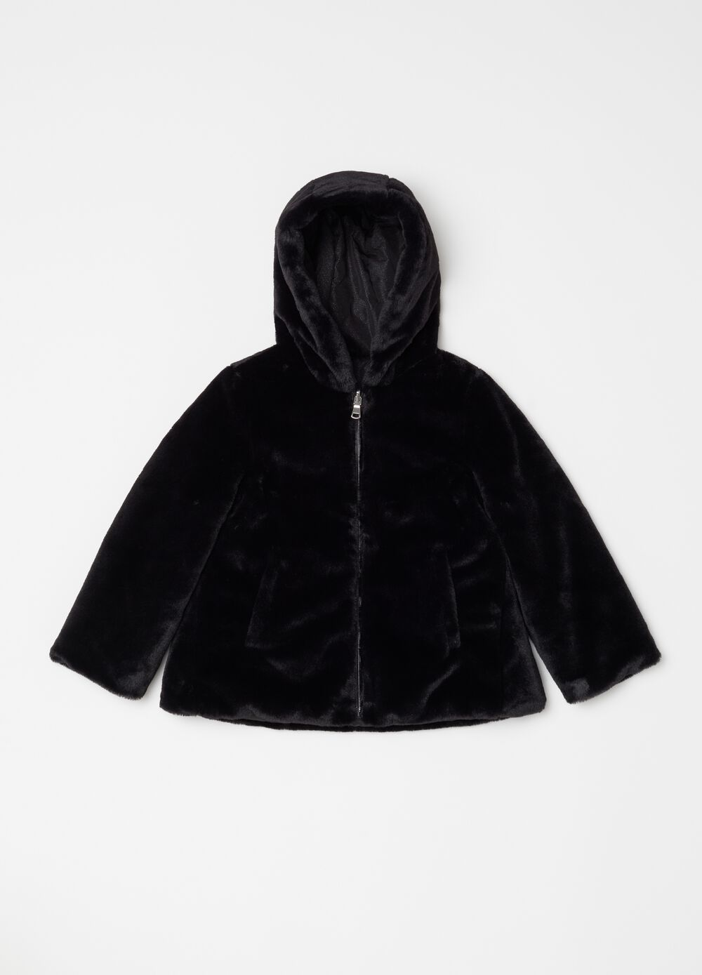 Reversible jacket with faux fur