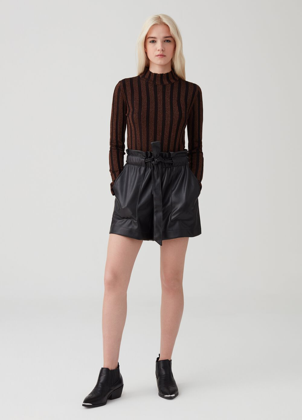 Leather-look shorts with pockets