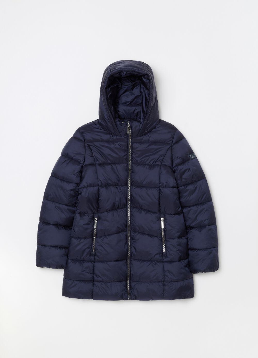 Long padded and quilted jacket