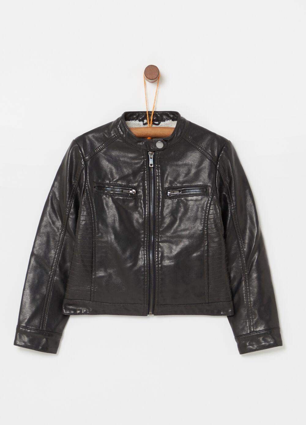 Leather-look jacket with high neck and zip