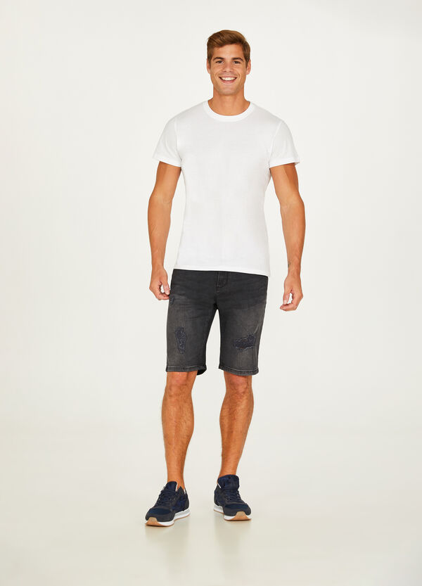 Slim-fit denim Bermuda shorts with rips
