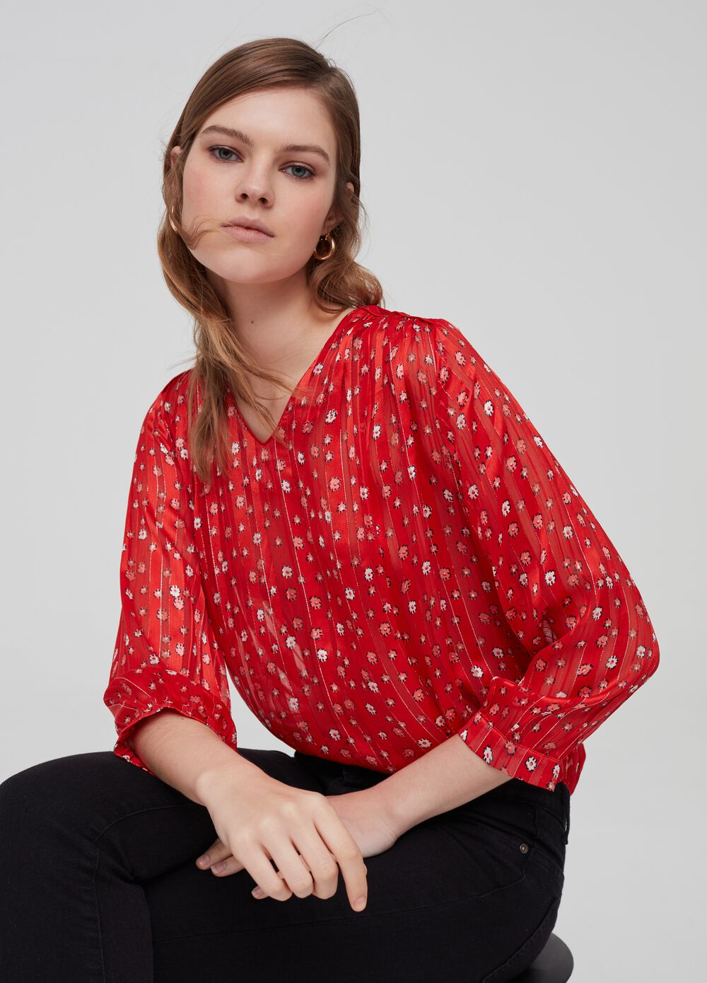 Blouse with floral lurex
