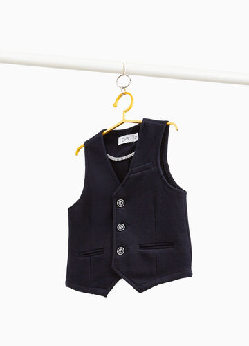 Gilet in woven cotton and viscose